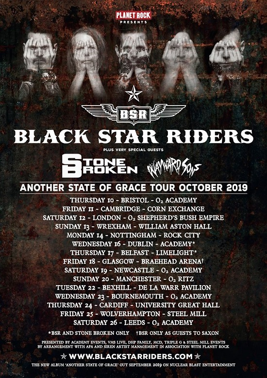 Black Star Riders 2019 tour poster