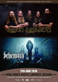 Poster for Amon Amarth/Behemoth co-headline show in Limerick on 17 June 2019