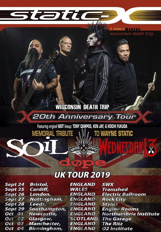 Poster for Static-X 2019 UK tour