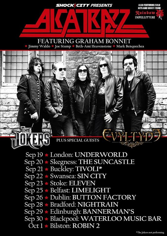 Poster for Alcatrazz 2019 UK and Ireland tour