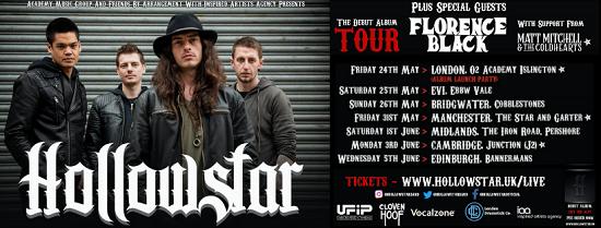 Flyer for Hollowsrtar 2019 album launch tour