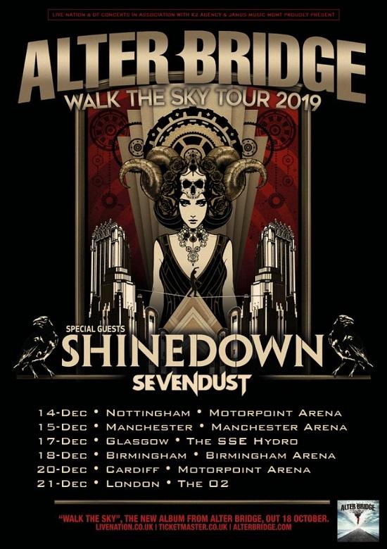 Alter Bridge 2019 GB tour dates