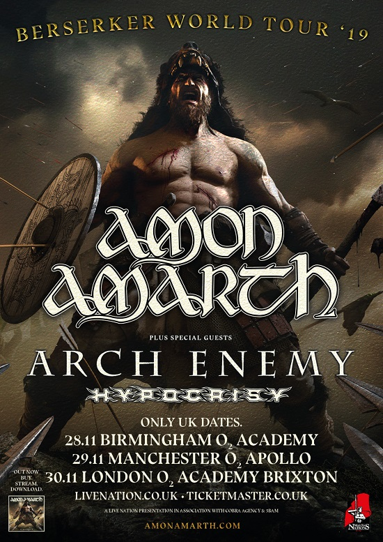 Poster for Amon Amarth November 2019 tour dates