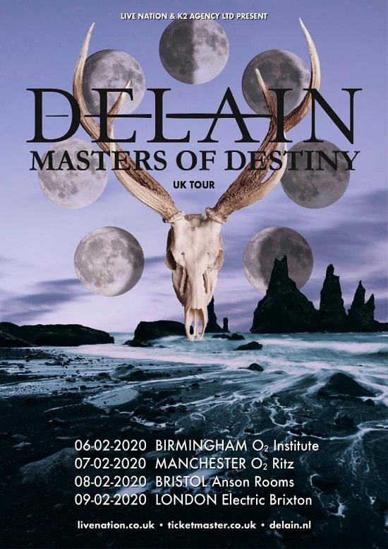Poster for Delain 2020 tour
