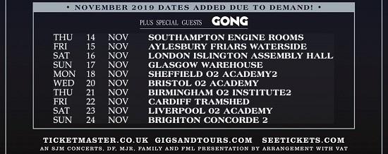 Flyer for Steve Hillage Band Novmber 2019 tour