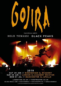 Poster for Gojira 2019 England dates