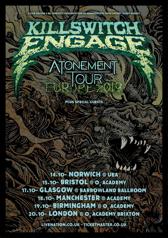 Poster for Killswitch Engage October 2019 tour