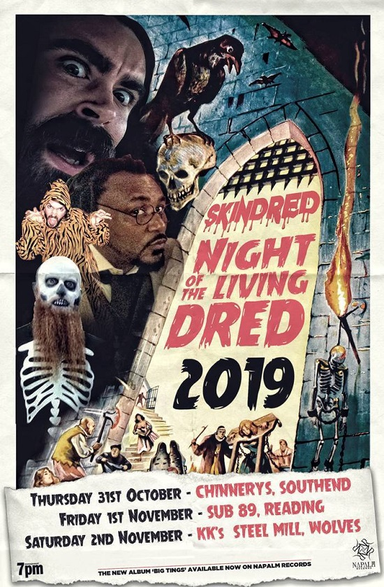 Poster for Skindred Halloween 2019 dates