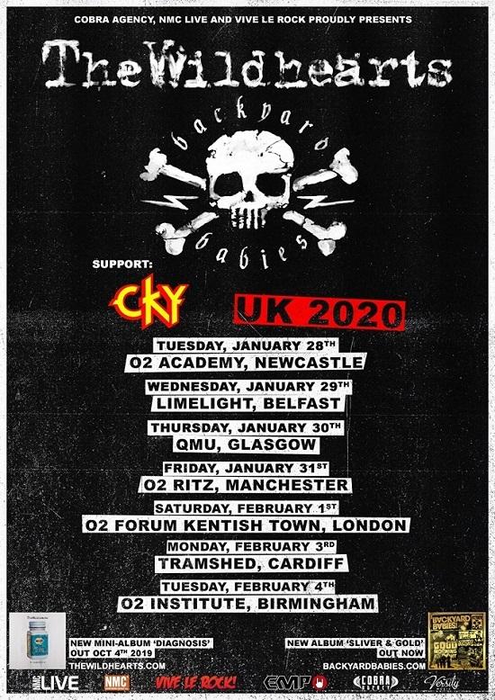 Poster for The Wildhearts Backyard Babies 2020 UK tour