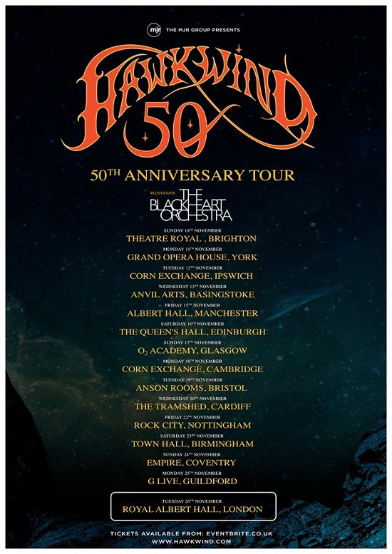 Poster for Hawkwind 50th anniversary tour