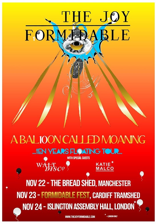Poster for The Joy Formidable tenth anniversary tour
