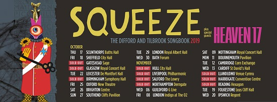 Flyer for Squeeze 2019 tour