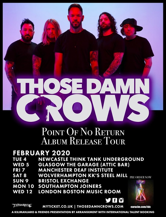 Poster for Those Damn Crows February 2020 tour dates