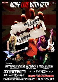 Poster for David Ellefson and KK Downing live in Wolverhampton