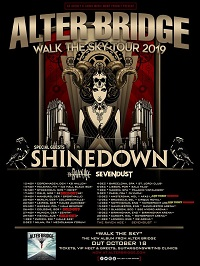 Alter Bridge 'Walk The Sky' 2019 European tour poster