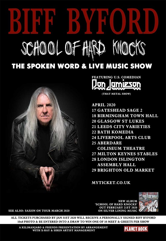 Poster for Biff Byford April 2020 solo tour