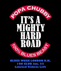 Poster for Popa Chubby at the 100 Club, London, January 2020