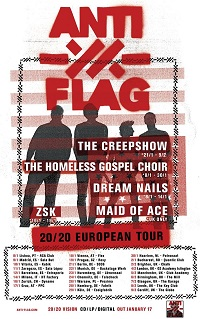 Anti Flag 2020 European tour poster