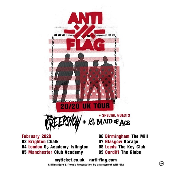 Poster for Anti-Flag 2020 UK tour
