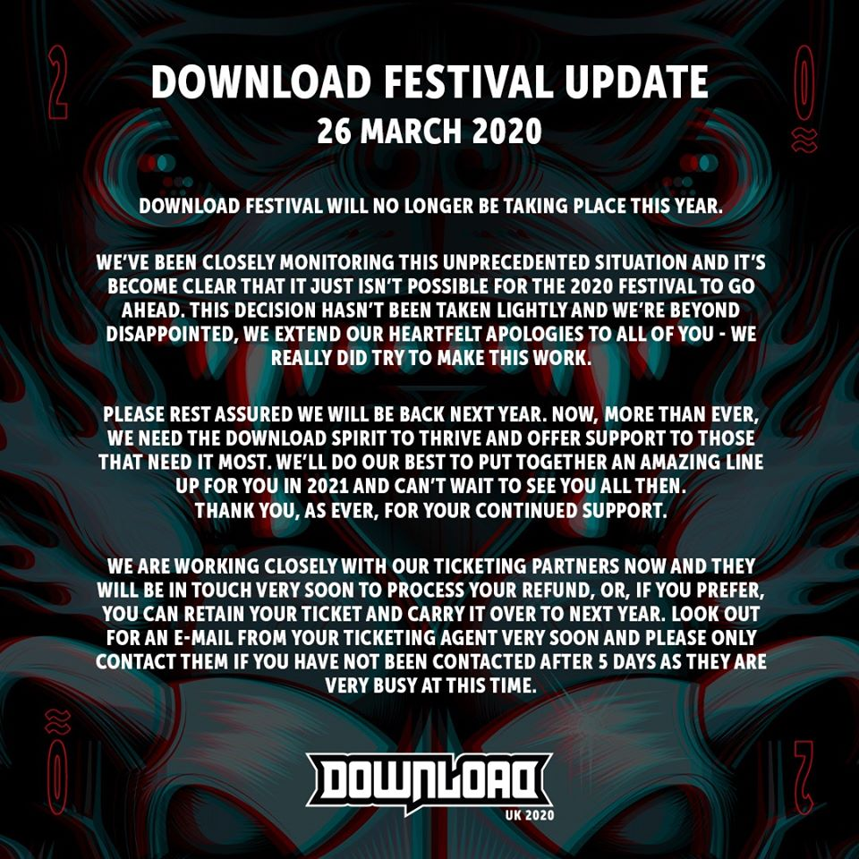 Statement re cancellation of Download 2020