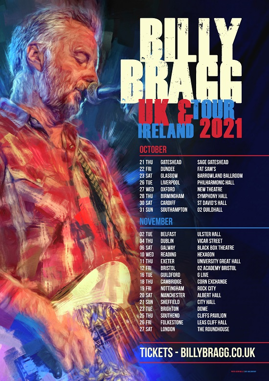 Poster for Billy Bragg 2021 tour