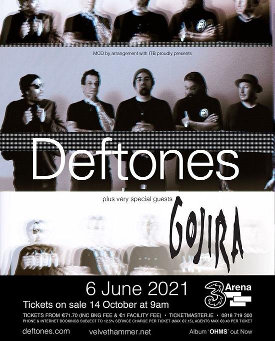 Poster for Deftones in Dublin June 2021