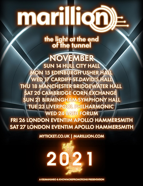 Poster for The Light At The End Of The Tunnel 2021 Marillion tour