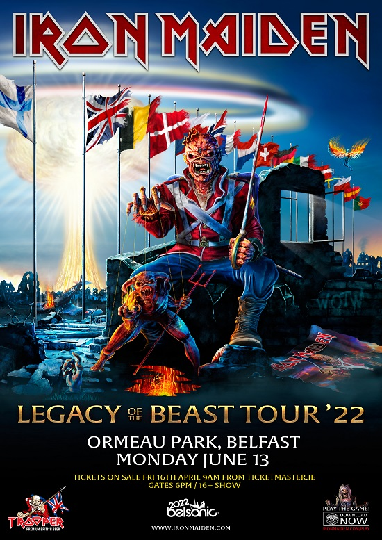 Poster for Iron Maiden in Belfast 2022