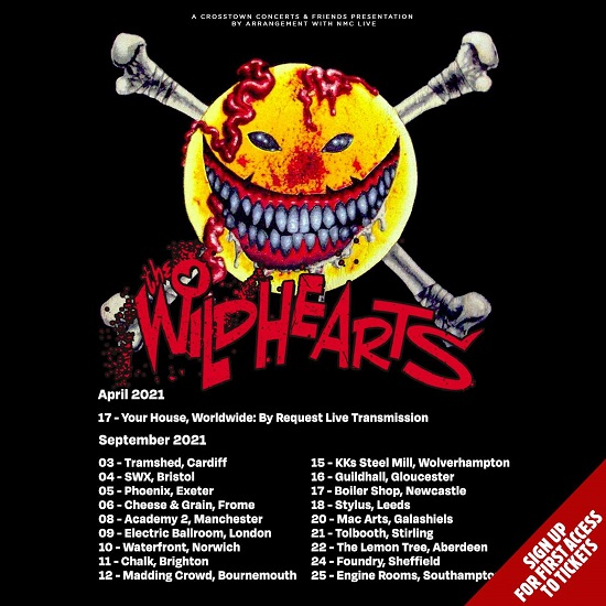 Poster for The Wildhearts September 2021 tour