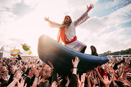 Jesus surfing at the Download Pilot festival