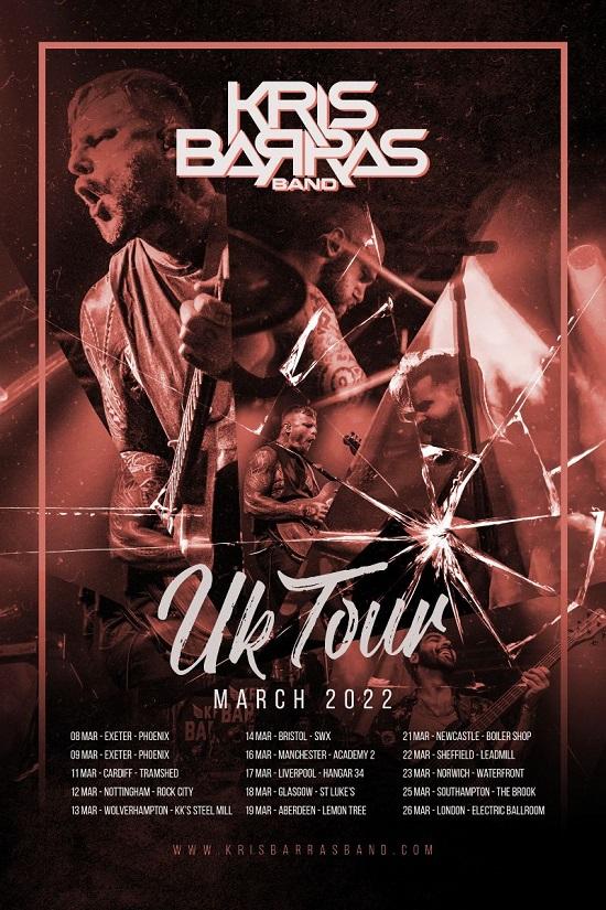 Poster for Kris Barras March 2022 tour dates