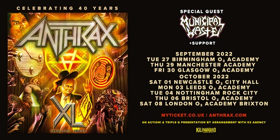 Poster for Anthrax 2022 tour dates