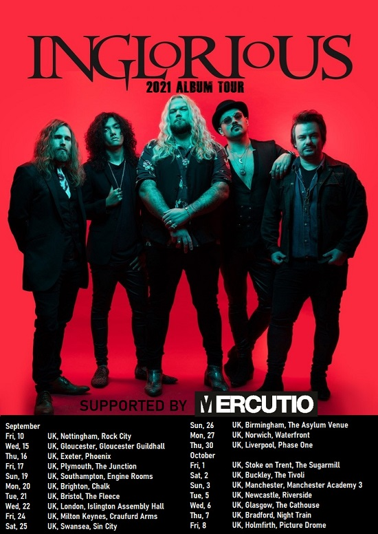 Poster for Inglorious 2021 tour dates