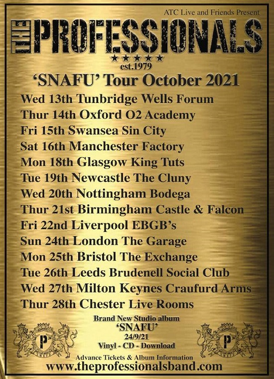 The Professionals October 2021 tour poster