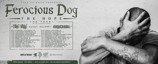 Poster for The Hope 2021 tour by Ferocious Dog