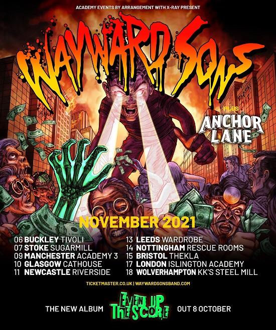 Poster for Wayward Sons November 2021 tour